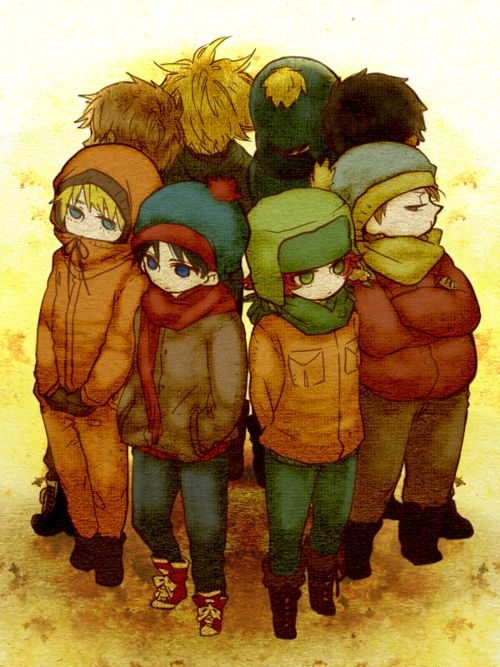 Kenny, Stan, Kyle, Cartman, Token, Craig, Tweek, Clyde.  (STYLE AND CREEK FOR LIFE<3)