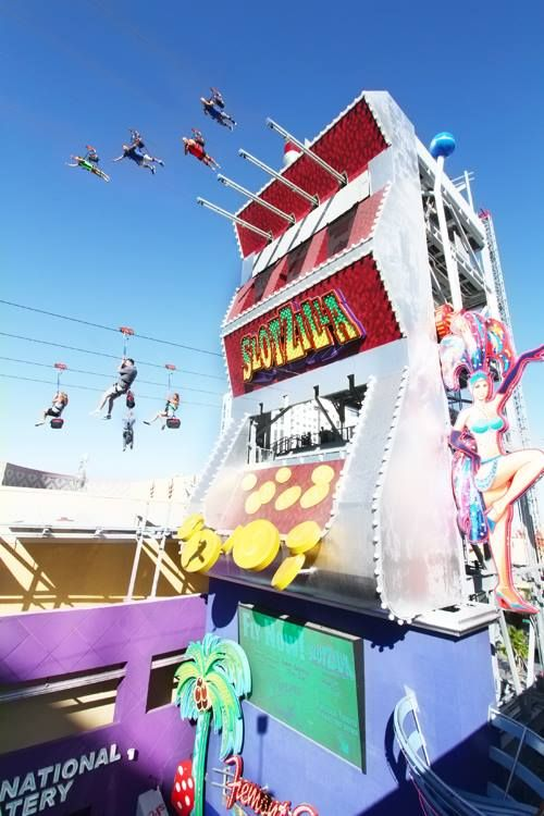 The SlotZilla zip line in downtown Las Vegas.