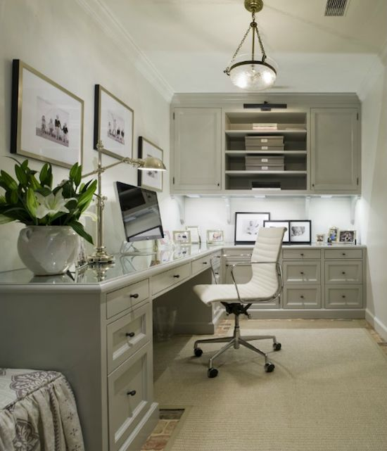 The Zhush: Organization Made Chic - Basement office inspiration.  This is what we need - long counter with turn for kids - but this is not industrial enough for me.