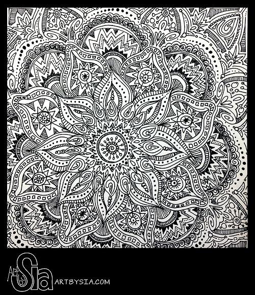 Art by Sia | Zentangle 002 | 2013 | Sharpie on bristol board- (a wonderful indian pattern!!)