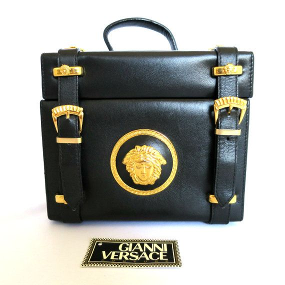 Gianni Versace Couture Vintage Gold tone MEDUSA  Vanity bag box  at HauteDecades on Etsy