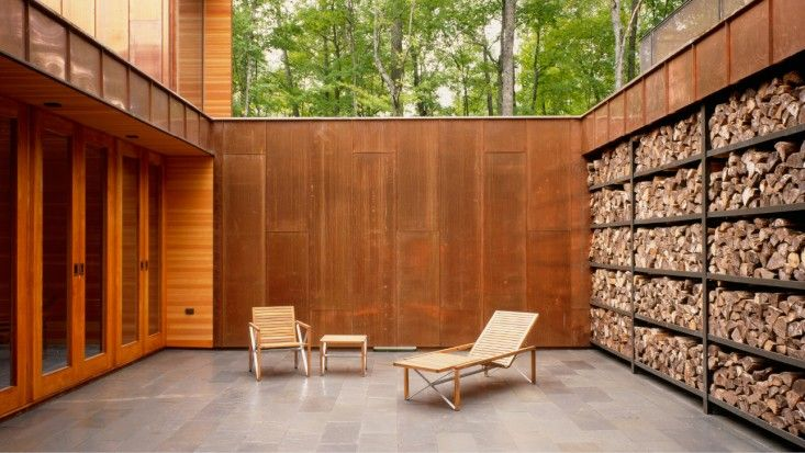 Copper Courtyard of Type Variant House in Wisconsin with Wall of Stacked Fire…