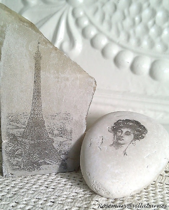 Playing with Rocks...After rubbing the surface with Gesso, she used her transfer method to transfer the image.