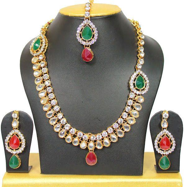 Indian Gold Plated Stones Kundan Necklace Earrings Party: 17 Best Kundan Women Wedding Party Wear Bridal Jewelry Set
