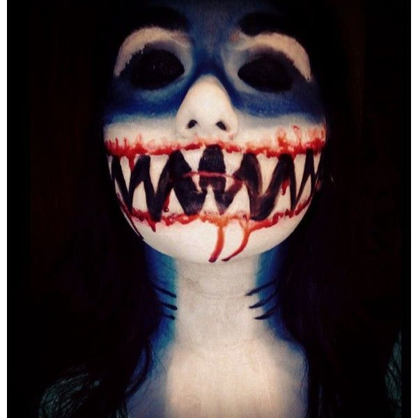 Shark girl makeup I did Halloween Ideas ❤ liked on Polyvore featuring beauty products, makeup, face makeup, face paint, halloween and other