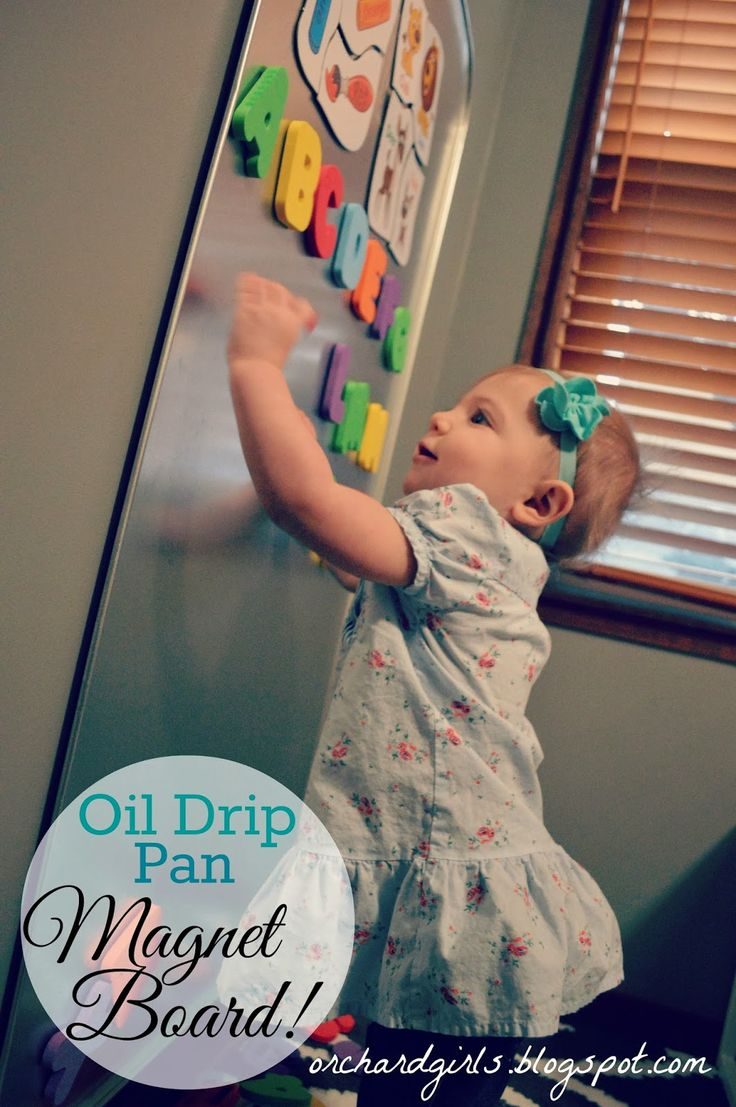 Orchard Girls: DIY: Oil Drip Pan Magnet Board for Kids