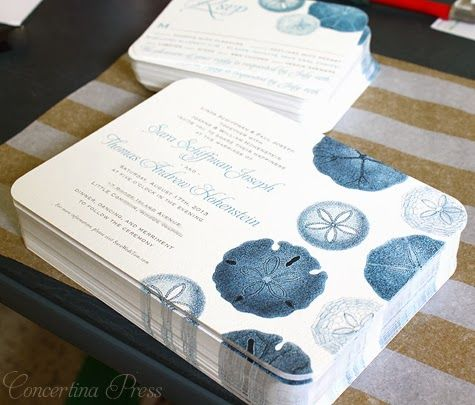 Sand Dollar Wedding Invitations from Concertina Press