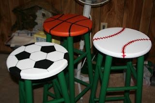 Painted stools to look like sports balls to match my classroom theme!