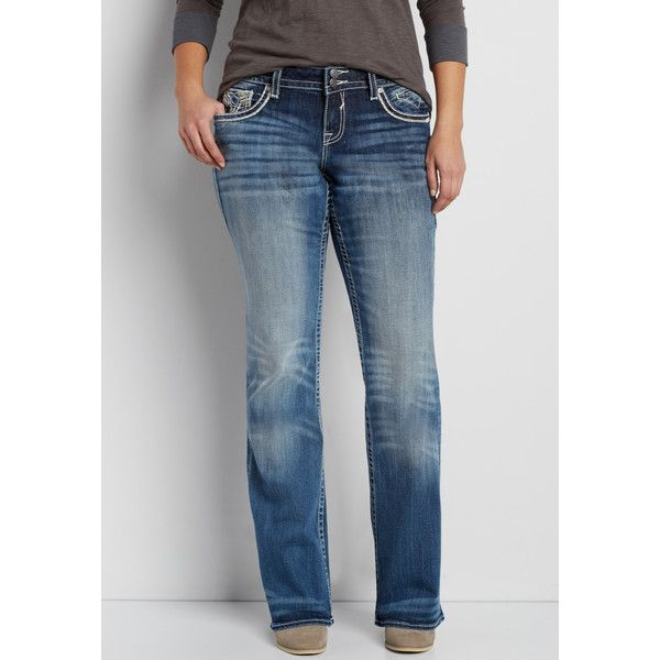 maurices Plus Size - Vigoss Bootcut Jeans With Metallic Stitching,... ($71) ❤ liked on Polyvore featuring jeans, plus size, stitch's jeans, women's plus size jeans, maurices, plus size boot cut jeans and plus size jeans