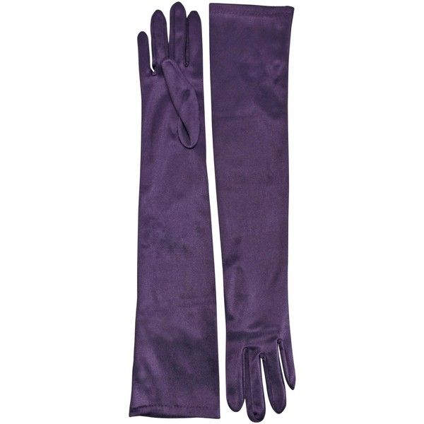 Purple Long 3/4 Arm Opera Length Evening Gloves ($24) ❤ liked on Polyvore featuring accessories, gloves, purple, long formal gloves, party gloves, satin gloves, prom gloves and satin opera gloves
