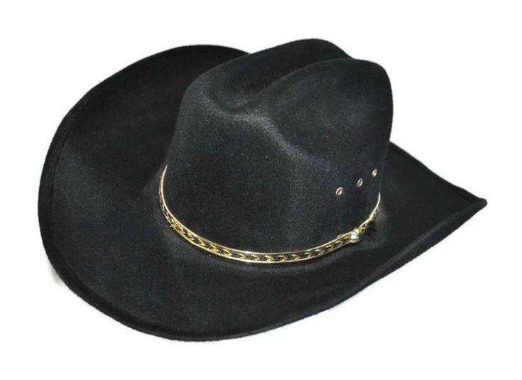 LAMMLE S Wool Felt Western Hat Black Cowboy Hat w. Band & Eyelets | eBay