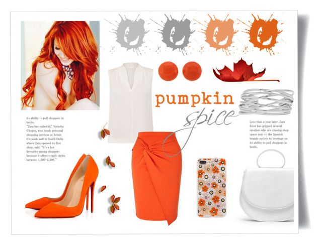 pumpkin spice by levai-magdolna on Polyvore featuring Elie Tahari, Miss Selfridge, Christian Louboutin, M&Co, Sonix and GRETCHEN