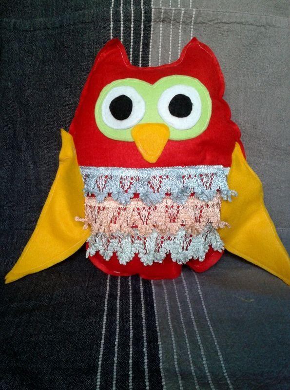 Handmade owl pillow  It's made by felt