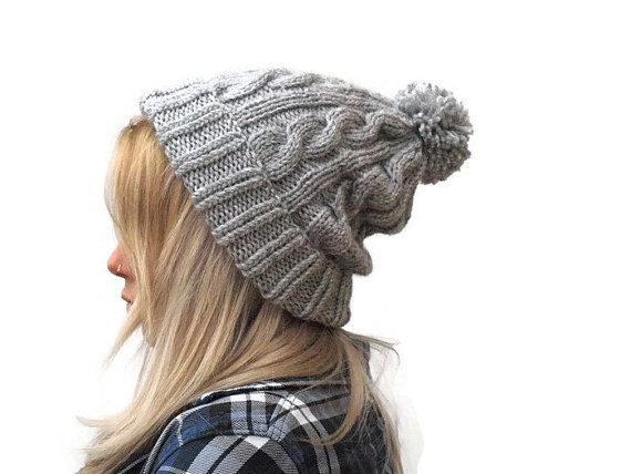 Pom Pom Hat Beanie Hat Gray knit hat Cable Beanie by PepperKnit