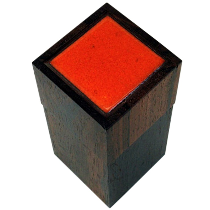 Alfred Klitgaard Rosewood And Orange Enameled Ceramic Box Denmark 1950's One plain rosewood box with orange enameled ceramic