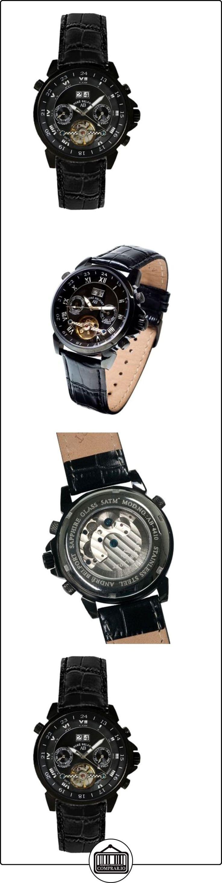 André Belfort 410137 - Reloj analógico de caballero automático con correa de piel negra - sumergible a 50 metros de  ✿ Relojes para hombre - (Lujo) ✿