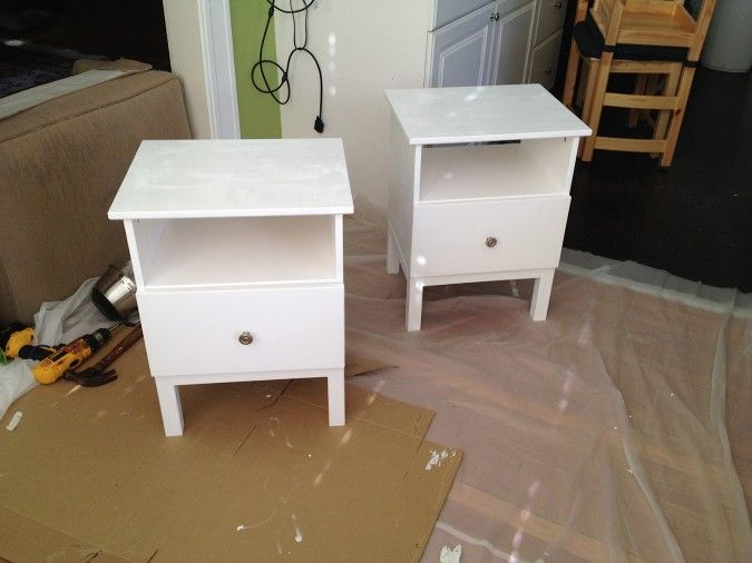 What tarva nightstands from ikea look like when painted for Ikea tarva hack de lit