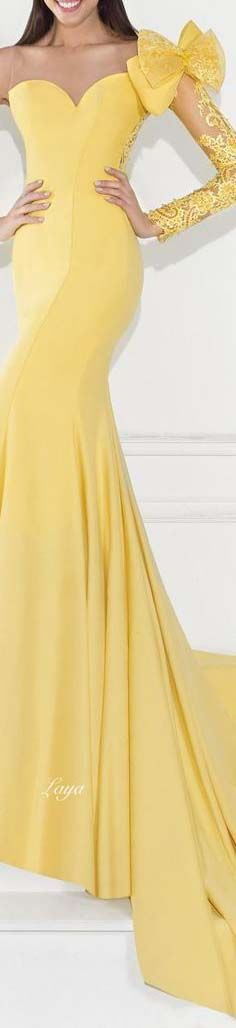 long yellow evening gown
