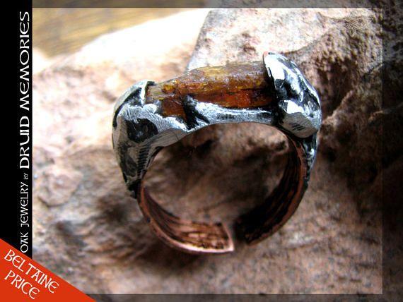 Druids mens or womens ring Raphael  raw citrine