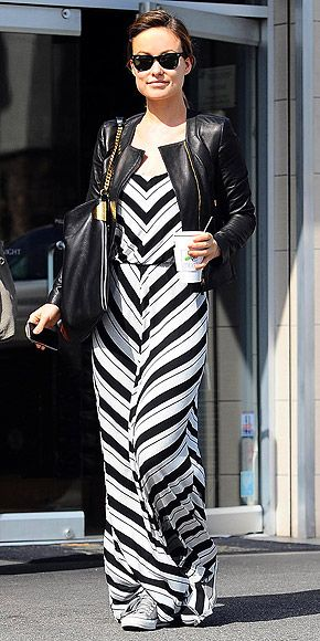 Casual Chic   Olivia Wilde in Ella Moss Ringo Dress, leather moto jacket, and converse.
