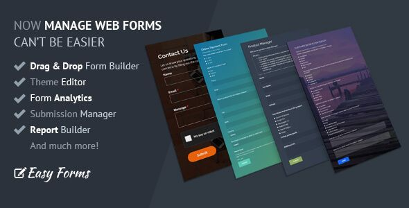 Easy Forms is a full featured form manager application that features a drag and drop php form builder, advanced. All links checked by VirusTotal.Com