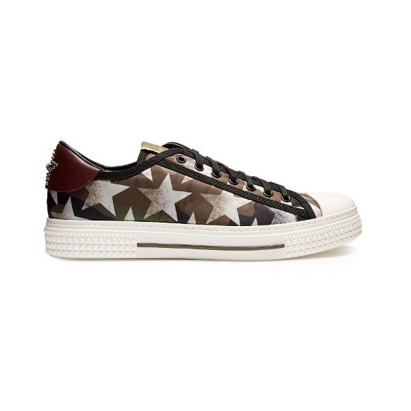 Valentino Camustars-print low-top trainers ($775) ❤ liked on Polyvore featuring men's fashion, men's shoes, men's sneakers, green multi, shoes, mens studded shoes, mens low profile shoes, valentino mens sneakers, valentino mens shoes and mens leopard print shoes