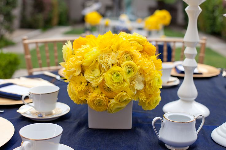 """White vase and yellow flowers (""""Heavenly Blooms: Royal Wedding Bridal Shower - Yellow and Blue Wedding Inspiration"""")"""