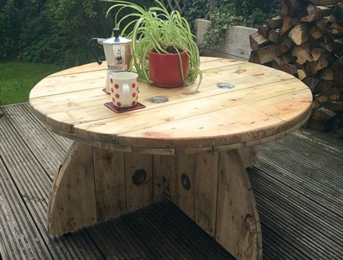1001 Idees Astuces Brico Pour Creer Une Table En Touret Avec Images Table Basse Touret Table Basse En Bois De Palette Diy Table Basse Palette