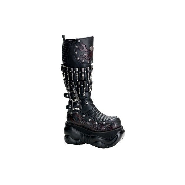 SinisterSoles.com ($211) ❤ liked on Polyvore featuring shoes, boots, black, gothic boots, goth platform boots, real leather boots, platform boots and goth boots