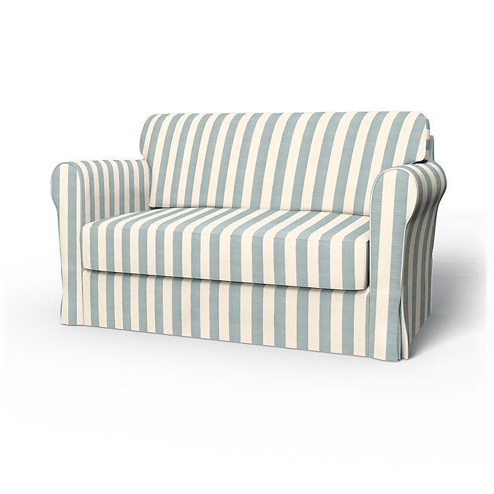 Hagalund, Sofabezüge, 2er Bettsofa, Regular Fit diesen Stoff anwenden Stockholm Stripe Mineral Blue/Soft White