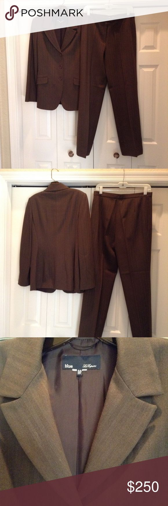 blue Les Copains Brown Suit Absolutely unbelievable brown on brown striped beautiful wool suit, jacket has pockets, three button front, pants have front zip and hook enclosure, absolutely exquisite. blue Les Copains Other