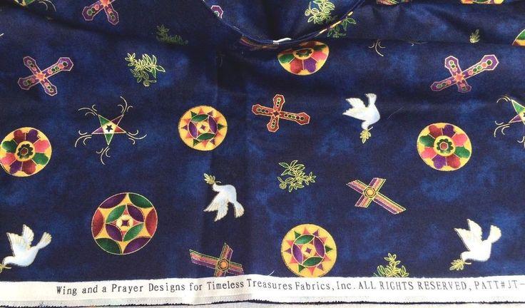 Wing & A Prayer Designs Timeless Treasures Fabrics Christian Navy Blue 1 Yd #TimelessTreasures