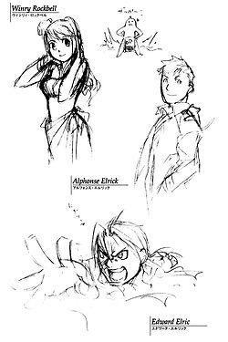 Hiromu Arakawa + FMA rough sketches