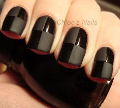matte and glossy black mani from Chloe's nails