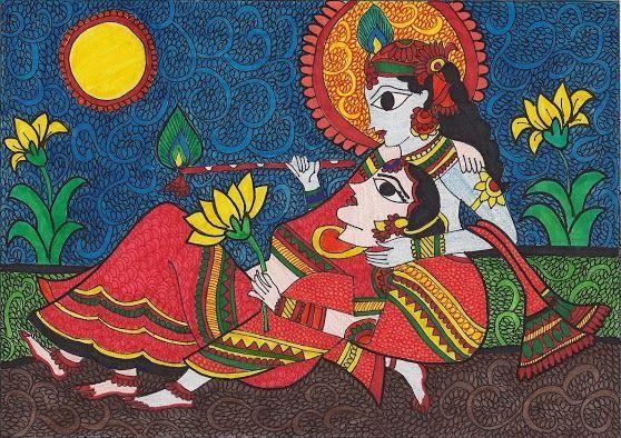 Radha Krishna madhubani painting