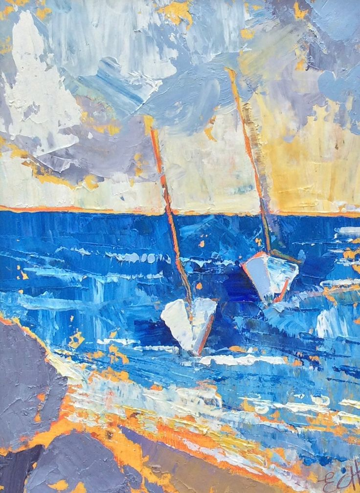 Sailboats I Oil on Board 10 x 26 cm  #Art #Paintings #Seascape