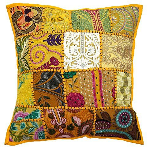 10 Pcs Patchwork Embroidered Handmade Pillow Cases, 17×17 Inch, Home Decor Cushion Cover