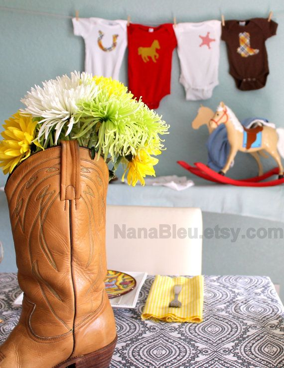 centerpiece & table scape idea for a western baby shower
