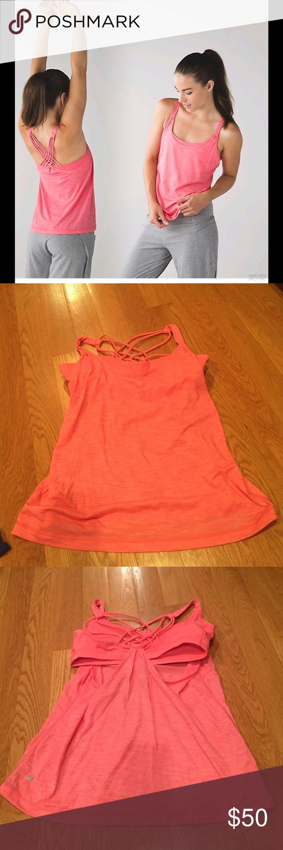 Lululemon sun salutation orange tank! SIZE 8 Fun orange tank wth great supportive strappy bra and lightweight bottom material! SIZE 8. Worn once lululemon athletica Tops Tank Tops