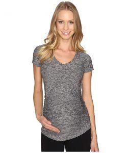 Beyond Yoga V-Neck Maternity Tee (Black/White Spacedye) Women's T Shirt