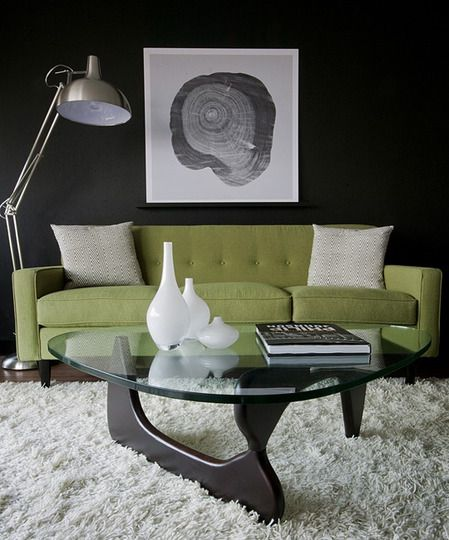 Modern Classics: The Noguchi Coffee Table  Love the fluffy rug and lamp