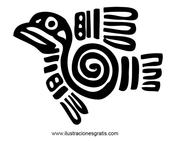 Pájaro volando - Estampa, marca o sello de identidad de un guerrero de la antigua sociedad azteca. Dibujo de un pájaro volando y visto de perfil. Un precioso diseño de las alas y el pecho del ave con una espiral dibujada en el centro. Se pueden ver perfectamente las alas y la cola emplumadas, junto a la cabeza con su pico y su ojo. Ilustración sencilla pero llena de belleza.
