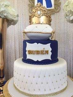 Look at this gorgeous Royal Little Prince Baby Shower Cake! See more party ideas at CatchMyParty.com