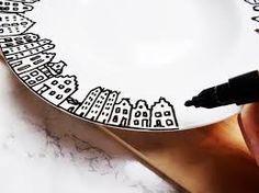 Porseleinstift - huisjes op bord DIY