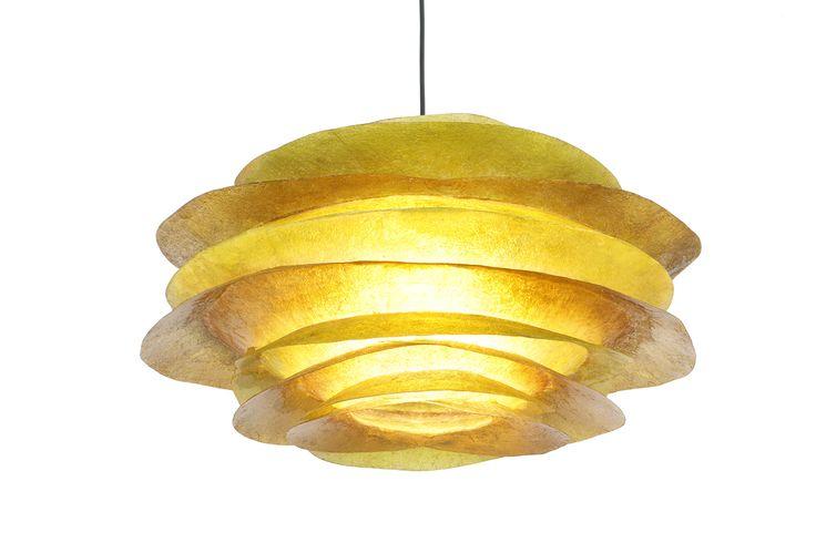 ''Big fins earthy'' - Hanging fiberglass lamp Χειροποίητο κρεμαστό φωτιστικό οροφής από fiberglass  Μπορεί να δεχθεί όσα Watt επιθυμείτε για τον χώρο σας, χωρίς περιορισμό, χρησιμοποιώντας λάμπες οικονομίας, led, ή ντιμαριζόμενες  Iδανικό για σαλόνι, καθιστικό, τραπεζαρία, ή και το υπνοδωμάτιο  Nτουί: Ε27, βιδωτό Διαστάσεις: 27 x 54cm
