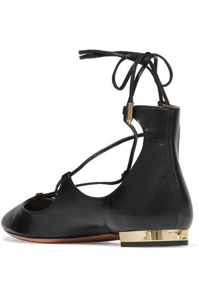 Aquazzura - Christy Leather Point-toe Flats - Black - IT40.5