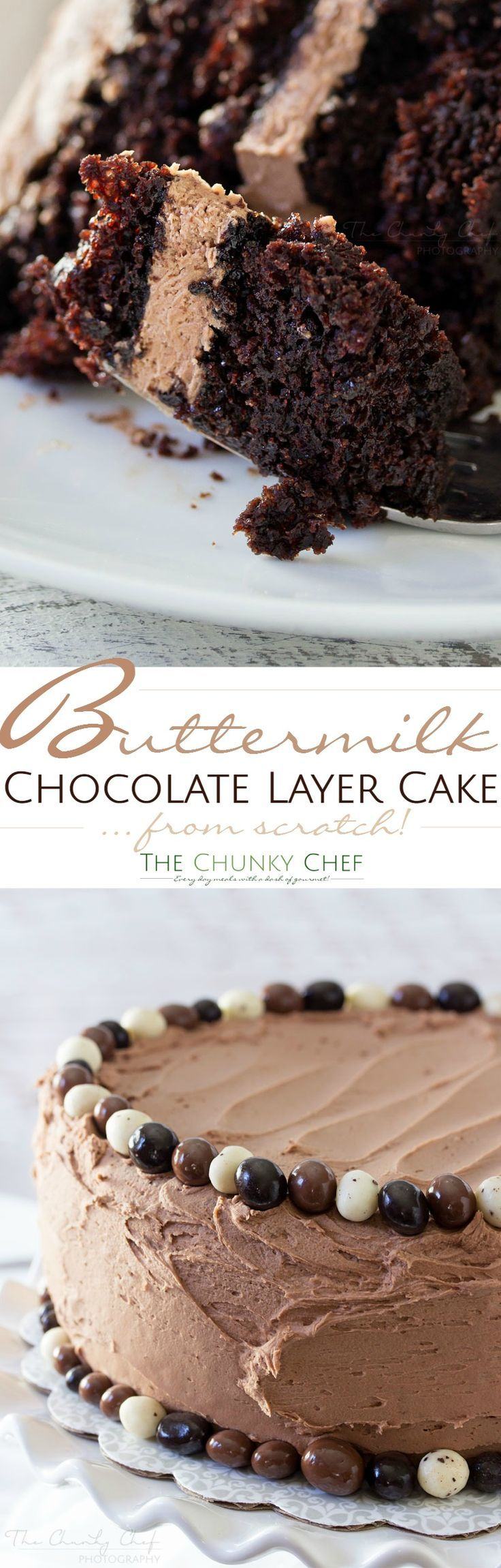 Buttermilk-Chocolate-Layer-Cake | The ULTIMATE soft and fluffy chocolate layer cake. Made from scratch with buttermilk, and slathered in an ultra creamy buttercream frosting! | http://thechunkychef.com