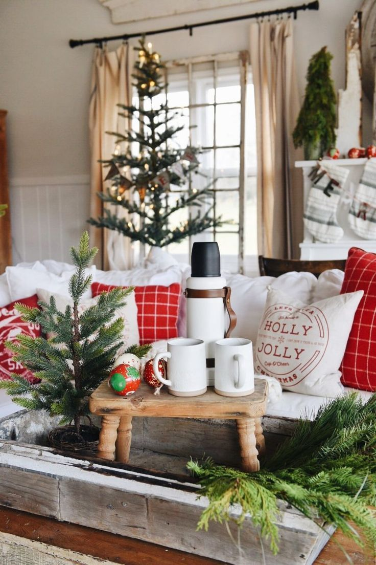 A Cozy Cheerful Christmas Living Room. Farmhouse Christmas, Rustic Christmas Decorations, Holiday Decor Ideas,