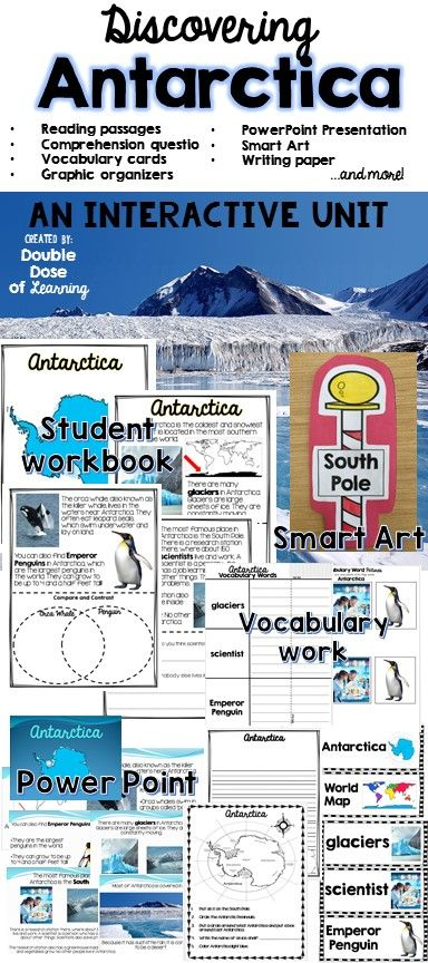 Engaging and interactive unit on the continent of Antarctica! Includes smart art writing activity, PowerPoint presentation, student workbook, vocabulary cards and more!