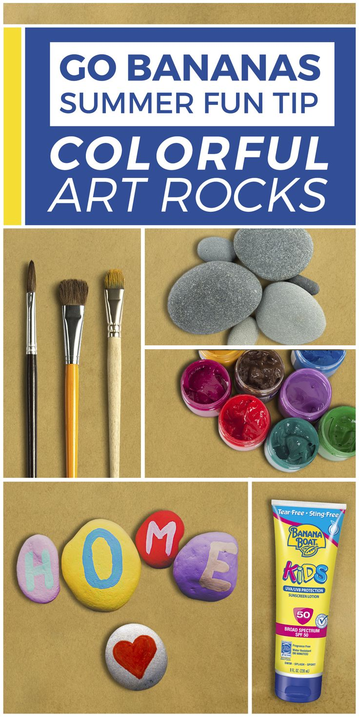 Looking to express a little creativity? Make the great outdoors your canvas with painted rocks! 1) Gather your art supplies. 2) Apply Banana Boat® Kids Tear-Free Sting-Free Lotion Sunscreen SPF 50+. 3) Go outside and search for rocks that inspire you. 4) Paint and trade for keepsakes you'll all cherish.